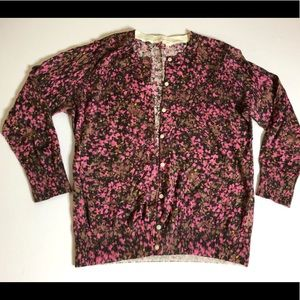 J Crew brown and pink floral cardigan